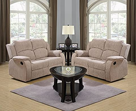 Beige Brown Reclining Fabric Material 3 Seater Sofa 2 Seater Sofa Recliner Armchair Suite DORSET