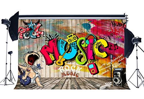EdCott Fondale musica rock 10X8FT Vinile Graffiti Band Hip Hop 80 \'s Fondali 90\' s Retro Stripes Pavimento in legno Fotografia Sfondo Ragazzi Ragazze Decorazione partito Carta parati Photo Studio