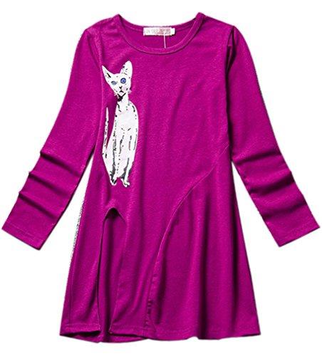Eyekepper kleine Maedchen Karikatur-Katze gedruckte lange Huelsen-Kleider Lila