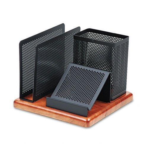 rolodex-1813918-distinciones-organizador-de-escritorio-metal-madera-588-x-588-x-45-negro-cherry