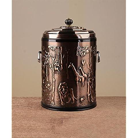 Soggiorno cucina cestino Europea - dell'acciaio inossidabile di stile Fila Di Secchi Tè Agitazione copertura di modo Bidone della spazzatura Soggiorno Cucina Cestino bagno Trash