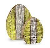 2x Deko Figur Osterdeko Ei Osterei im Set 22+15 cm groß aus Holz braun weiß grün Shabby Landhausstil, Dekofigur Frühling Ostern Holzei