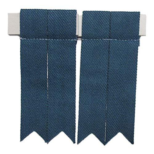 Blue Flash Kostüm - Tartanista - Herren Kilt-Strumpfhalter - einfarbig oder Tartanmuster - Antikes Blau