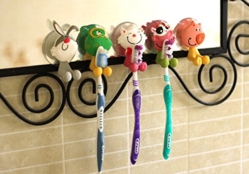 Zahnbürstenhalter, Cozyswan (5 Stück) Wand Tiere Cartoon Halter mit Saugnapf für Zahnbürsten Halterung Wandhalterung