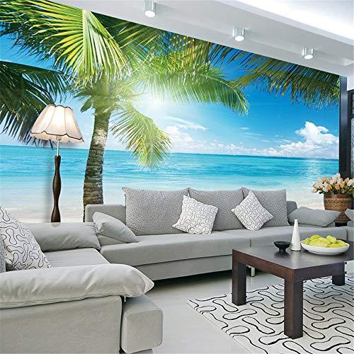 Cucsaist carta da parati paesaggio mediterraneo spiaggia camera da letto soggiorno tv sfondo non tappezzato carta da parati rivestimento murale, 300 * 210 cm