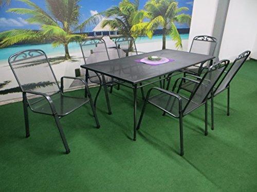 Pure Home & Garden 7-teilige Streckmetall Gartenmöbelgruppe Tulip, 6 Stapelsessel und EIN Gartentisch 180x90 anthrazit,