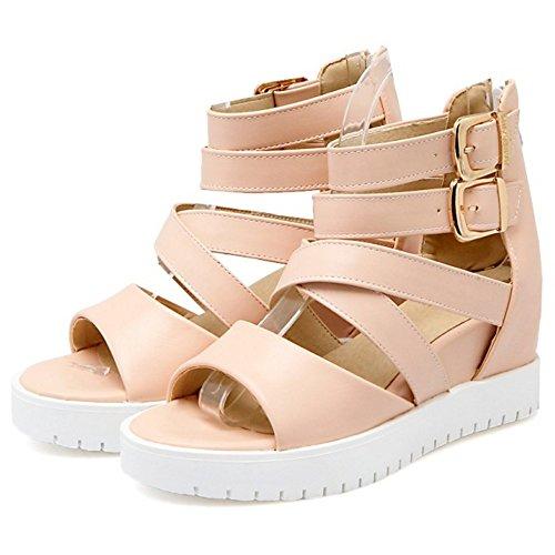 COOLCEPT Femmes Mode Cheville Sandales Orteil ouvert Augmentation Chaussures Rose