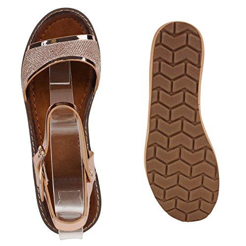Damen Komfort-Sandalen | Lack-Optik Glitzer Metallic | Sommerschuhe | Plateau Sandalen Sandaletten | Kork Blumen Glitzer Rose Gold Cabanas