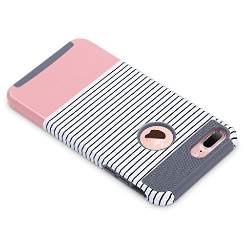 iPhone 7 Plus Hülle, ULAK Slim [Dual Layer] Schutz Hybrid Case mit Hard PC und Innengummi Cover für iPhone 7 Plus 5,5 Zoll (Roségold + Streifen) Roségold stripes + grau