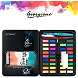 Giorgione 36 Colors Solid Watercolor Paints With Painting brush and sponge Tin Box Set