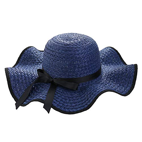 LAIGESJADIAO Korean Version of The New Bow Raffa Straw Hat Black Side Big Wave Wide Hat 檐 Beach Hat Small Fresh Sun Visor