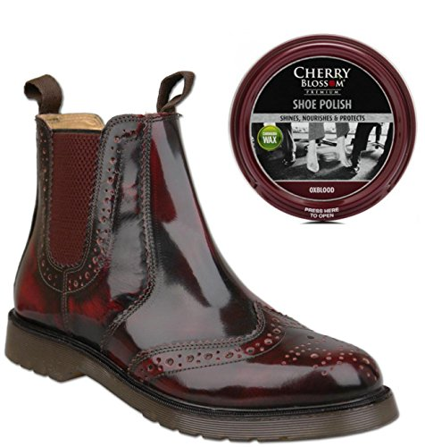 Mens Oxblood Chelsea Brogue Boots Bundlr With Matching Shoe Polish (2 items)...