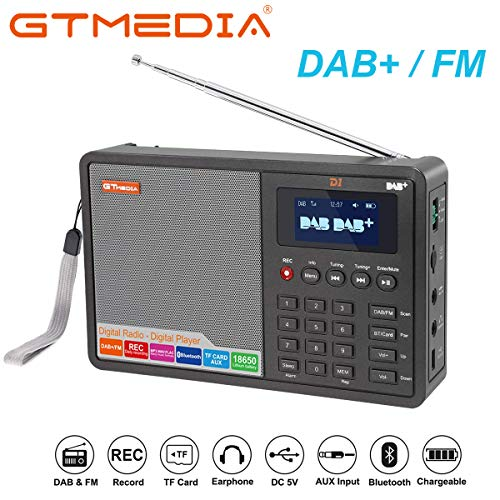 GT Audio D1 DAB/DAB+ / FM Tragbares Digitalradio RDS Bluetooth/TF Karte, Stereo Lautsprecher, USB Aufladung, Wiederaufladbarer Akku mit 2200mAh, AUX-IN, 1,8 Zoll LCD Display, Doppelwecker