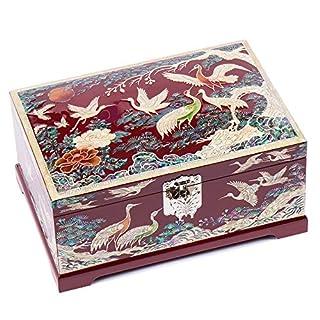 Antique Alive Jewellery Box Perlmutt-Schmuckkästchen/Schmuckkästchen/Schmuckkästchen, 2-stufig, Holz, roter Kran, Kieferbaum, Schmuckkästchen, Schmuckkästchen