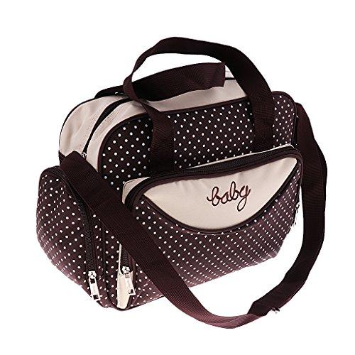 Prettyia Damen Windel Wickeltasche Mama Handtasche Babytasche Umhängetasche Schultertasche Kinderwagentasche Reisetasche für Mutter und Baby - Braun, Groß