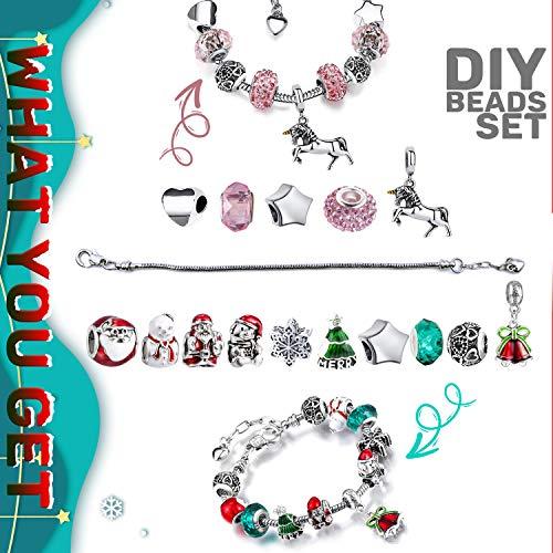 512yySYnMIL - Adventskalender Santa mit 24 Schmuckteilen Einhorn Armband Kit Halskette Ringen Engel Schlüsselanhänger Weihnachtskalender für Mädchen