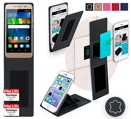 reboon Hülle für Huawei Honor 4C Pro Tasche Cover Case Bumper | Schwarz Leder | Testsieger