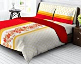 Tangerine Tangy Gold Cotton Bedsheet wit...