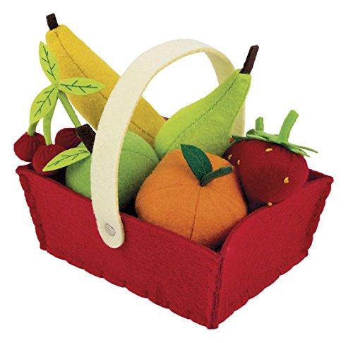 Janod Holzspielzeug - Früchtesortiment im Korb Obst Kaufladen Markt Filz 8 Teile - 16 x 12 x 13 cm, Mehrfarbig