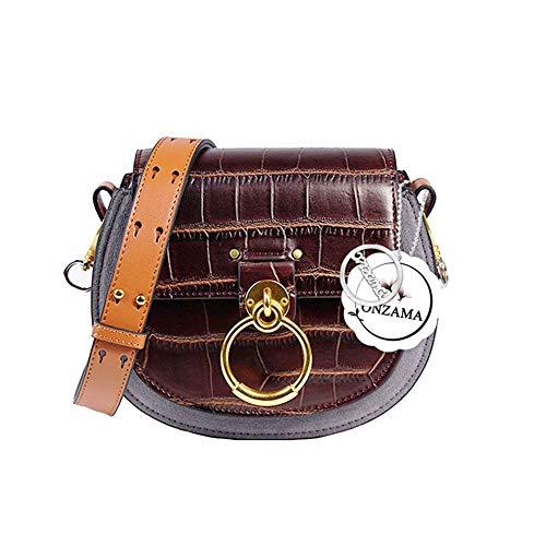 Onzama Damen Designer Schulter Sattel Geldbörsen Armband Crossbody Taschen Kuh Leder Ring Satchel (Kaffee) -
