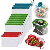 Ototon Reusable Mesh Produce Bags Washable Eco Friendly Bags with Drawstrings for Shopping Storage Fruit Vegetable Toys 12pcs