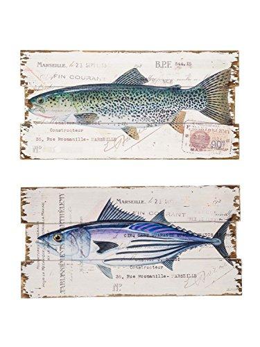 Lot de 2 oeuvres murales sur bois - motif poissons - style antique