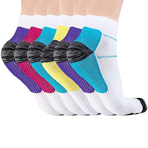 Acexy Kompressionsstrümpfe Laufsocken, für Damen und Herren, lindern Schmerzen, unterstützen Ferse, Fußbogen und Knöchel Arch & Knöchel (6 Paare, L/XL) -