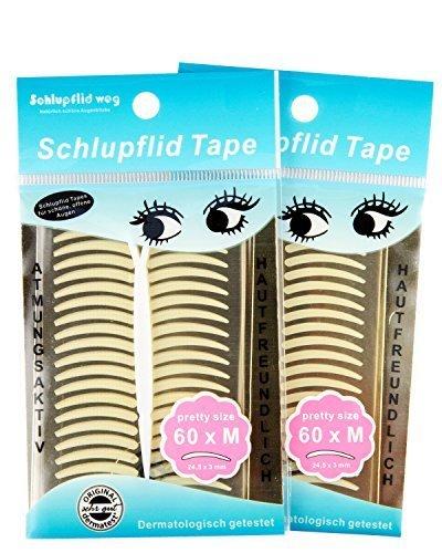 SCHLUPFLID TAPE 'pretty size' (M) - Augenlidliftig ohne OP [120 Paar] Schlupflid Streifen im  Doppelpack, Kleine Schönheitshelfer für Augenlider