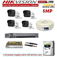 HIKVISION Full HD 5MP Cameras Combo KIT 4CH HD DVR+ 4 Bullet Cameras +1TB Hard DISC+ Wire ROLL +Supply & All Required CONNECTORS