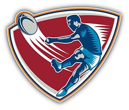 Rugby Player Kicking Ball Auto-Dekor-Vinylaufkleber 12 X 10 cm