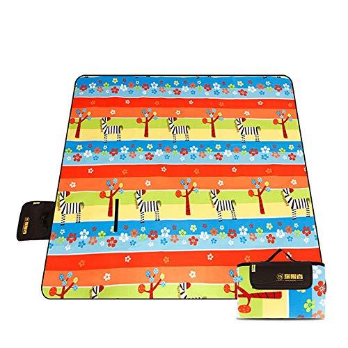J.SPG Feuchtigkeitsfestes Pad Camping liefert Wildleder Beflockungsmatte Wasserdicht auf der Rückseite Verdickte Picknickmatte Im Freien 200 × 200 cm,Zebra -