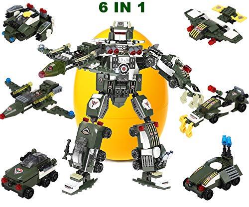 Juego creativo de juguete con bloques , 6 en 1 Juguete robot de STEM transformante, construcción de juguetes para niños de 6 a 12 años de edad, la mejor idea de regalo de juguete para niños 524 piezas