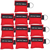 Pack of 10pcs CPR Mask Keychain Ring Emergency Kit Rescue Face Shields with One-way Valve Breathing Barrier for First Aid or AED Training, Adult and Infant, Easy to Carry (Red)