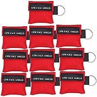 Paquete de 10pcs CPR Máscara Llavero Anillo de Emergencia Kit Rescate Face Shields con válvula de un solo sentido Respiración Barrera de primeros auxilios o entrenamiento AED, para adultos y niños, fácil de llevar (rojo)