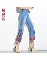 brodés jeans, femmes 9 points pantalon, printemps mince, trop serrés.