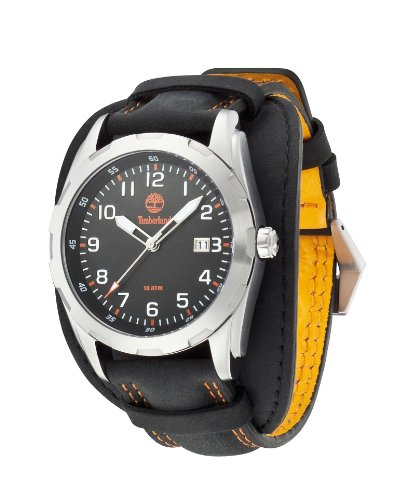 Timberland Newmarket Men's Quartz Watch with Black Dial Analogue Display and Black Leather Cuff 13330JS/02