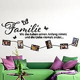 Grandora W965 Wandtattoo Spruch Familie Wo das Leben seinen Anfang nimmt... schwarz
