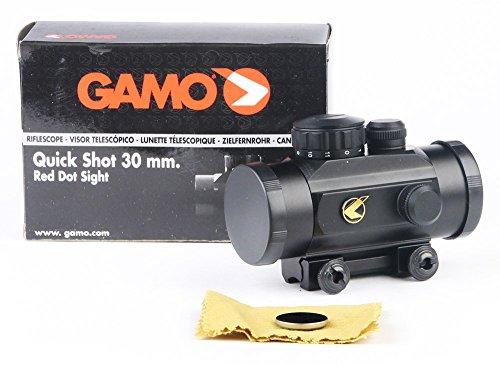 Lunette de Tir Gamo Quick Shot Red Dot BZ 30mm - avec Bouchon Objectif et Rail de Montage - Lorsque vous allumez un point rouge / orange vif apparaît au centre de votre champ. C'est votre point de visée. C'est juste trÚs simple et trÚs précis.