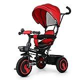 Fascol Dreirad 6 in 1 Kinderdreirad Kinder Fahrrad Baby Kleinkinder mit Lenkbarer Schubstange, mit FlüSterleise Gummireifen und Sonnendach für Jungen und Mädchen ab 12 Monate -5 Jahre,Rot