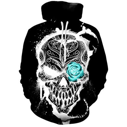 Kostüm Skelett Jack - ZHANSANFM Halloween Kostüme Hoodie Herren Unisex 3D Bunte Skelett Print Sweatshirt Langarm Pullover Retro Regular Fit Elegant Kapuzenpulli Warme Weihnachten Kapuzenjacke Party Shirt (S, Schwarz)
