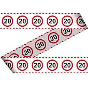 Folat - Cinta decorativa para fiestas (15 m x 7,5 cm), diseño de 20º cumpleaños, color blanco, rojo y negro
