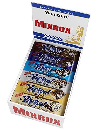 Weider Yippie! Proteinriegel 70g g Mix Box 12 leckere Eiweißriegel, low-carb