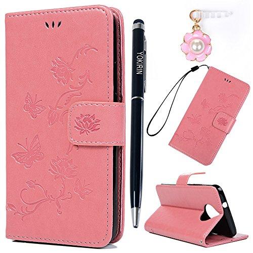 Preisvergleich Produktbild Motorola Moto G5S Plus Hülle YOKIRIN Case für Motorola Moto G5S Plus Lederhülle Etui Lotus Schmetterling PU Leder Schutzhülle Flip Bookcase Handyhülle Schale Karte Halterung Magnetverschluss Cover Tasche Rosa