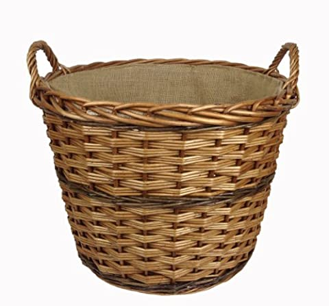 NEW!!! Quality, Round Wicker Log Basket, With Handles.