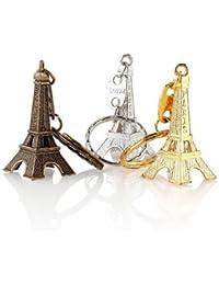 Lot de 50 porte-clé Tour Eiffel 3 couleurs mélangées argenté doré bronze cadeaux souvenir Paris France