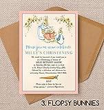 """Hip Hip Hooray Einladungskarten für die Taufe/Namenstag, mit """"Flopsy Bunnies""""-Motiv, mit Umschlägen, personalisierbar, 10 Stück"""