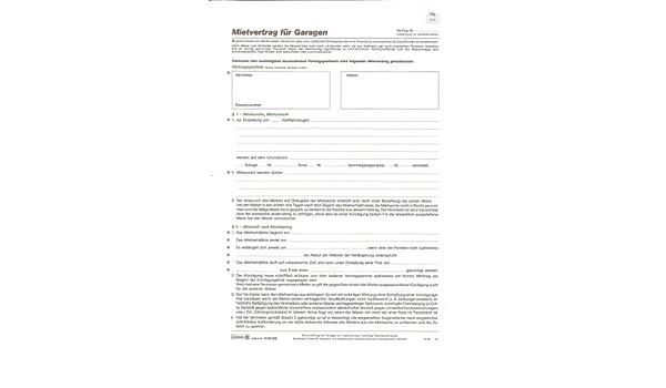 Baier Schneider Vertragsformular Mietvertrag Garagen A4 4