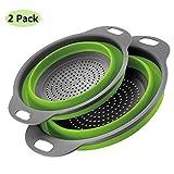 2 piezas Cocina Plegable Colador de Silicona Colador Plegable Cesta de Frutas Coladores Cocina Respetuosos del Medio Ambiente no Tóxico Fácil de Limpiar (Verde)