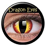 Crazy Fun Colour Color Contact Lens lenses Farbig Kontaktlinsen lentille (((DRAGON EYES))) « sans correction » Red Yellow Rouge Jaune Yeux uk