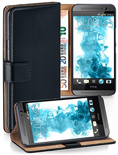 moex® Booklet mit Flip Funktion [360 Grad Voll-Schutz] für HTC One M9 | Geldfach und Kartenfach + Stand-Funktion und Magnet-Verschluss, Schwarz